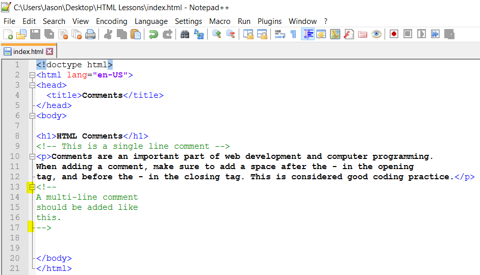 HTML Comment Tags You can add comments to your HTML source by using the following syntax