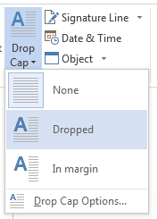 How to use the Drop Cap in MS Word