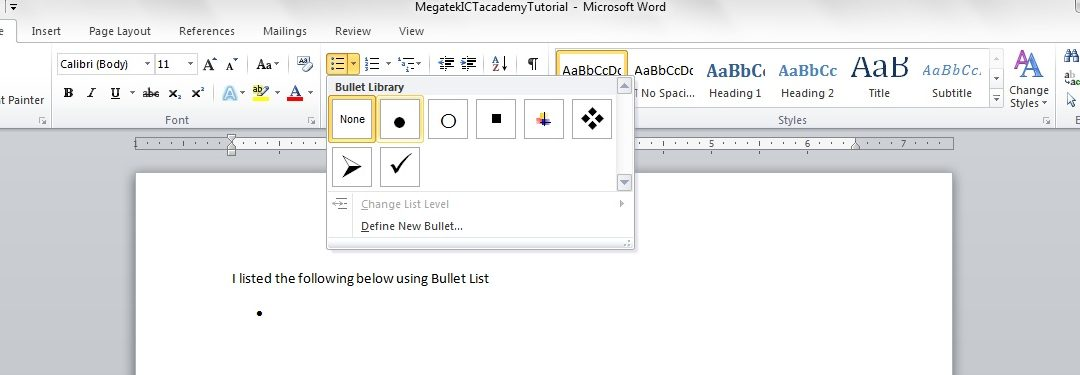 How to use List in MS Word.